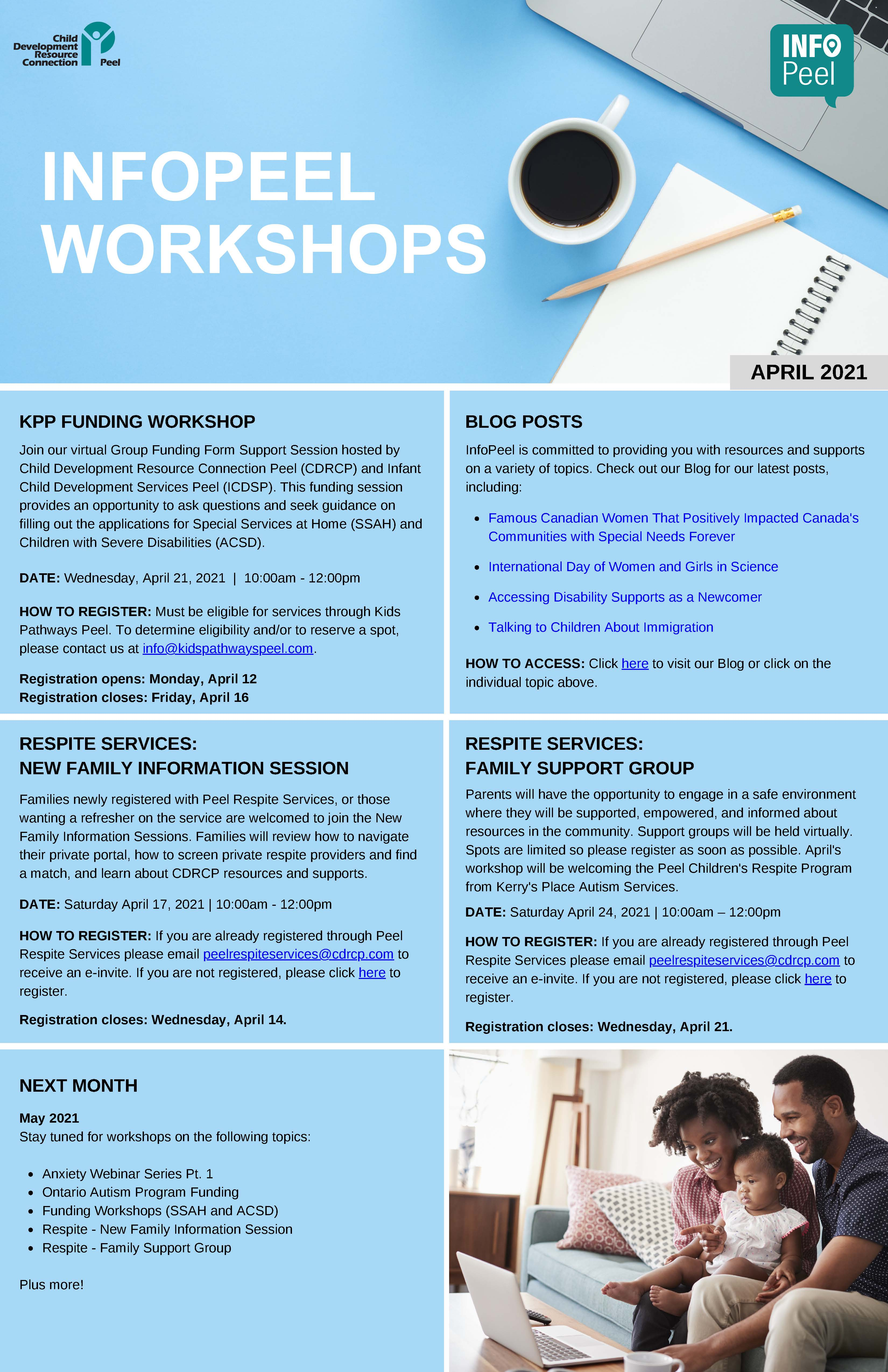 InfoPeel April Workshops